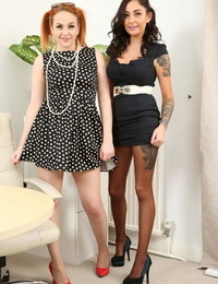Cute coeds Lauren The Stylist & Kara Carter strip & position bare-chested in the office