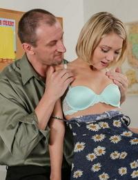 Blonde pocket sized teenager Dakota gets her ass hole rammed in school