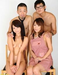 Stunning American & Japanese chicks enjoying a nasty hardcore four way