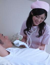 Cute Japanese nurse Sara Yurikava gives her patient a voluptuous hand job